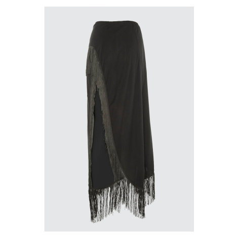 Trendyol Black Fringed Viscose Sarong Skirt