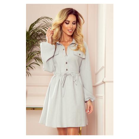 CLARA - Šedé dámské košilové šaty s knoflíky a dlouhými rukávy 298-1 NUMOCO