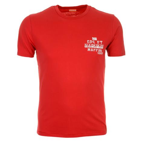 Pánské červené tričko Napapijri s drobným potiskem