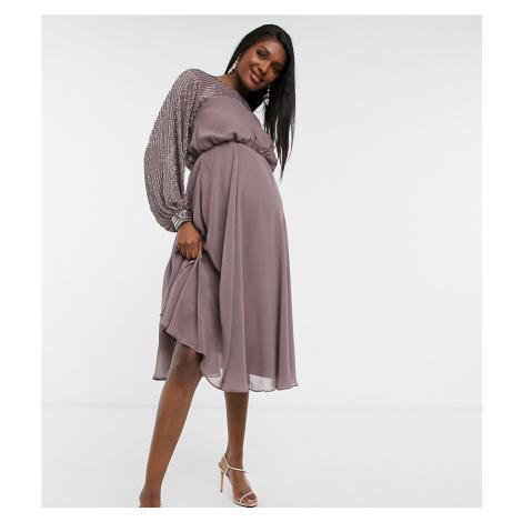 ASOS DESIGN Maternity midi dress with linear yoke embellishment-Purple