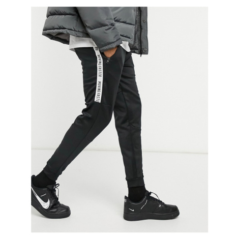 Bershka joggers with taping in black scuba