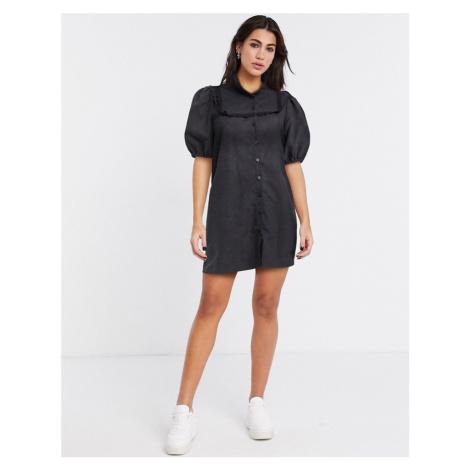 Lola May smock dress with puff sleeve-Black