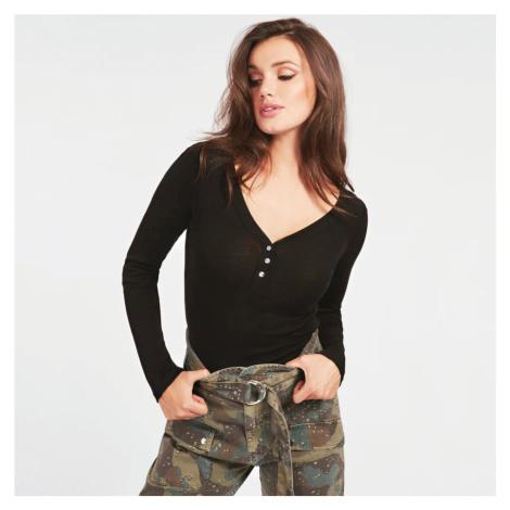 Guess dámské černé triko s dlouhým rukávem