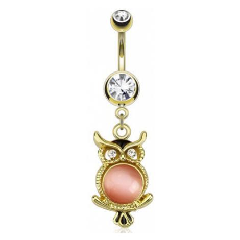Zlatý ocelový piercing do pupku, sova s růžovým kamínkem Šperky eshop