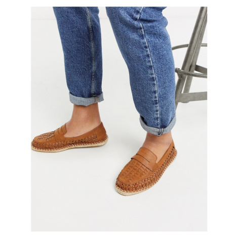 ASOS DESIGN espadrille loafers in tan weave