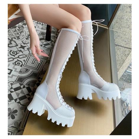 Síťované kozačky kožené letní boty dámské na traktor platformě