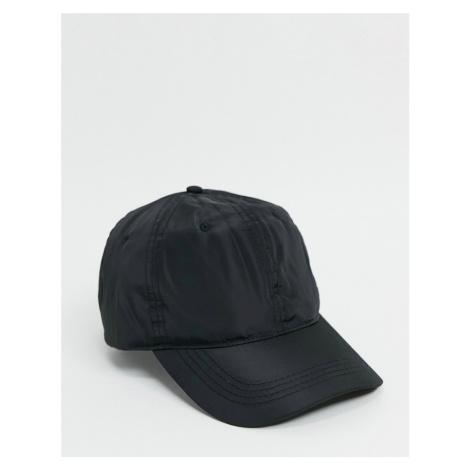 ASOS DESIGN baseball cap in black nylon