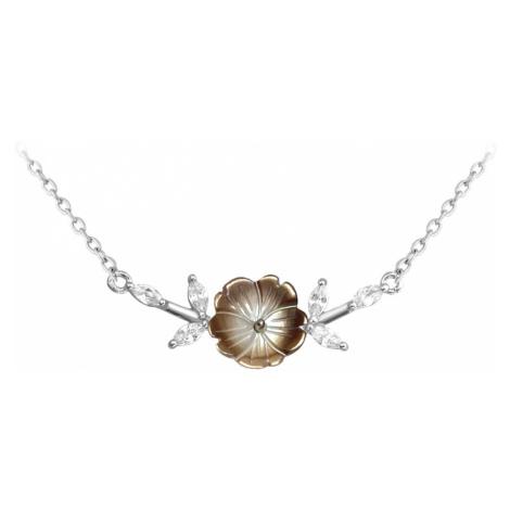 Černý rozkvetlý stříbrný náhrdelník FLOWERS se zirkony