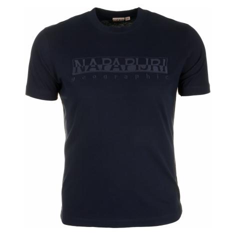 Pánské tmavě modré tričko Napapijri s velkým vyšitým logem