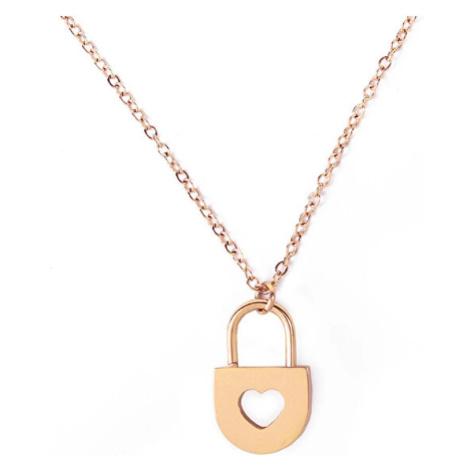 Vuch Romantický ocelový náhrdelník Heart Key Gold