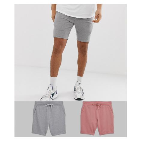 ASOS DESIGN jersey skinny shorts 2 pack pink / grey marl-Multi