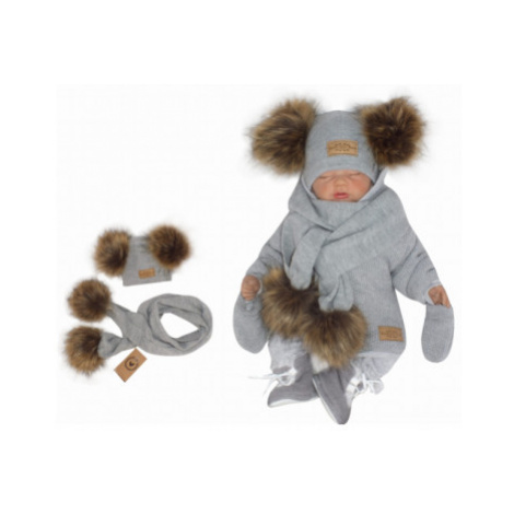 Z&Z Zimní čepice s bambulemi z kožešinky a šálou 2V1, šedá, vel.