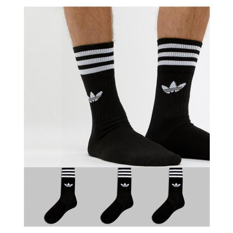 Adidas Originals solid crew 3 pack socks in black s21490