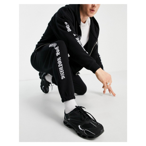 Good For Nothing joggers in black with logo placement print