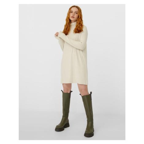 Stradivarius super soft roll neck knit dress in beige-Neutral