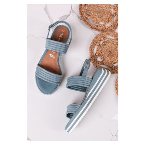 Modré kožené platformové sandály 1-28029 Tamaris