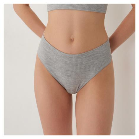 Sinsay - Bezešvé kalhotky brazilky - Světle šedá