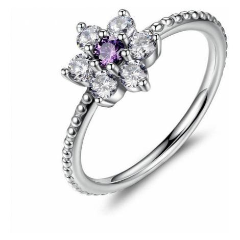 Linda's Jewelry Stříbrný prsten Flower Shiny violet IPR023 Velikost: 54