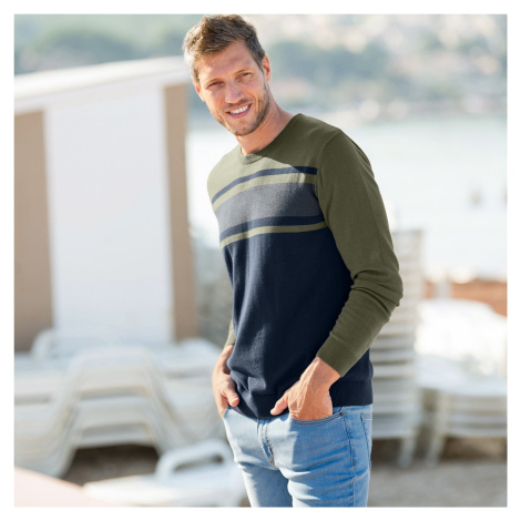 Blancheporte Pruhovaný dvoubarevný pulovr nám.modrá/khaki