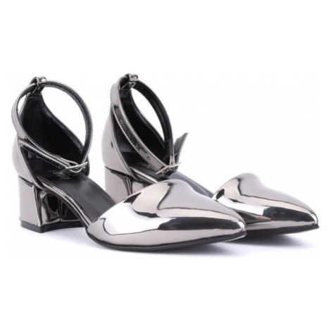 Tmavě stříbrné dámské společenské lodičky Ivy