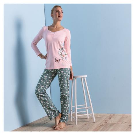 Blancheporte Pyžamové tričko s dlouhými rukávy, středový potisk motýlů růžová