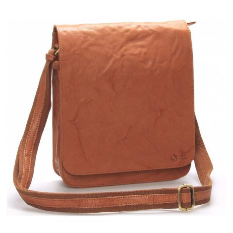 Větší světle hnědá crossbody pánská kožená brašna - Sendi Design Daril