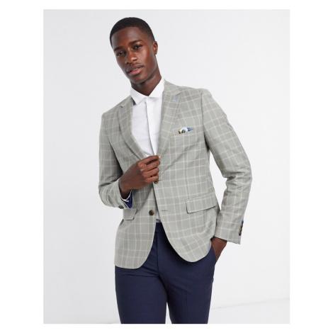 Harry Brown grey linen check slim fit suit jacket