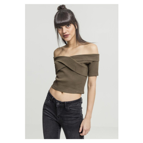 Ladies Off Shoulder Cross Rib Tee - olive Urban Classics