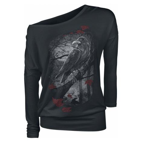 Black Premium by EMP Schwarzes Langarmshirt mit Rundhalsausschnitt und Print dívcí triko s dlouh