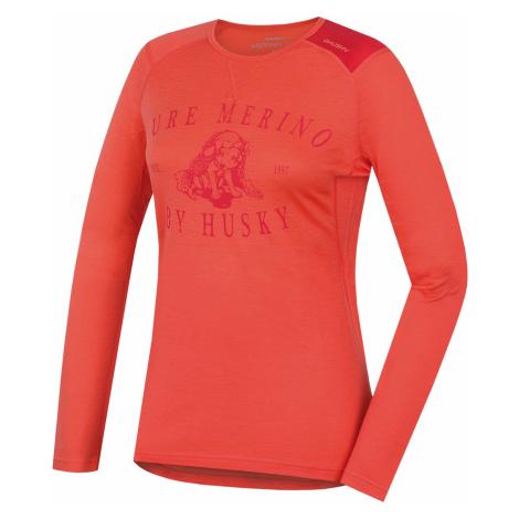 Merino thermal underwear T-shirt long women's Puppy peach Husky