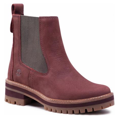 Kotníková obuv s elastickým prvkem TIMBERLAND - Courmayeur Valley Chelsea TB0A2DSQC60 Burgundy N