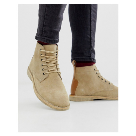 ASOS DESIGN desert chukka boots in stone suede with leather detail