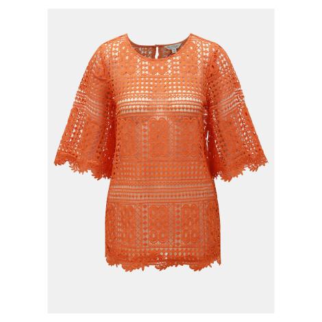 Oranžový krajkový top Miss Selfridge