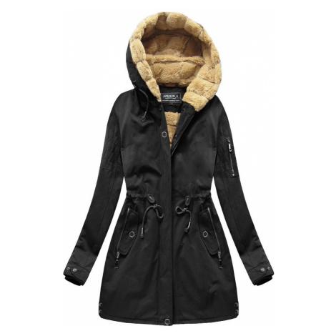 Černá dámská zimní parka s kapucí (XW807X)