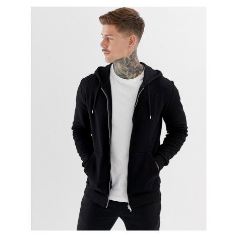ASOS DESIGN zip up hoodie in black - Black