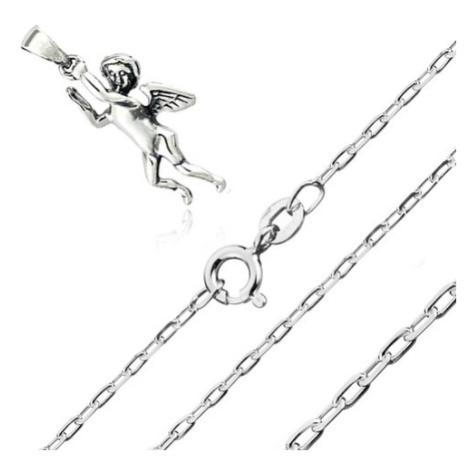 Stříbrný 925 náhrdelník - přívěsek andílka, řetízek z hladkých oválných oček Šperky eshop