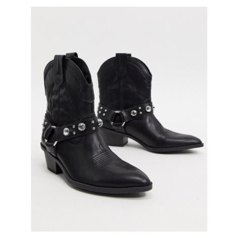 Bershka harness detail western boots in black