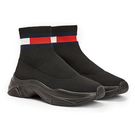 Tommy Hilfiger černé ponožkové tenisky Tommy Jeans Flat Sock