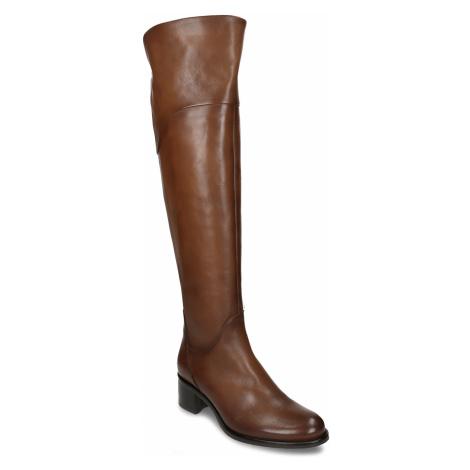 Kozačky nad koleno dámské hnědé kožené Baťa