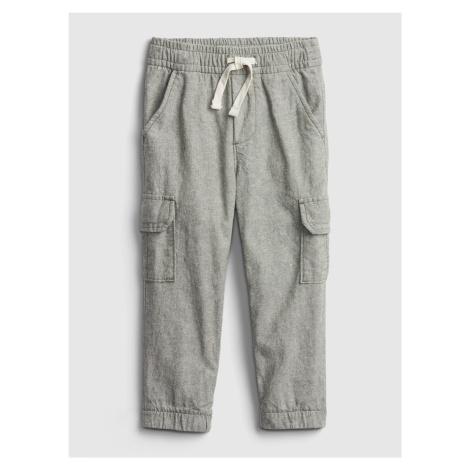 GAP zelené chlapecké kalhoty Linen Cargo
