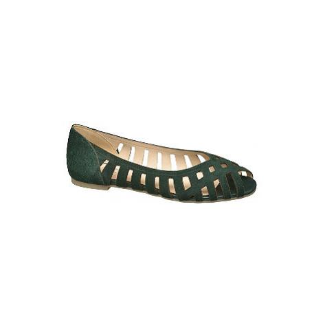 Zelené kožené baleríny 5th Avenue