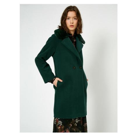 Koton Women's Green Faux Fur Detail coat