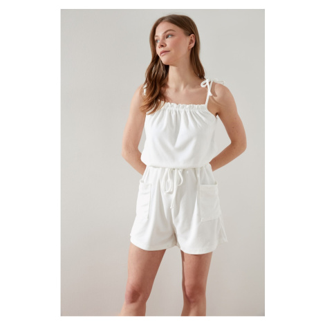 Trendyol White Knitted Overalls
