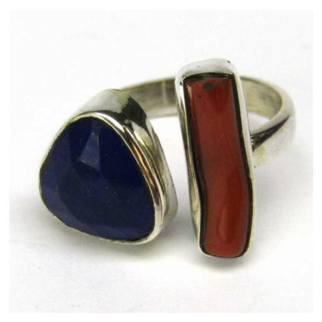 AutorskeSperky.com - Stříbrný prsten s korálem a lapis lazuli - S4726