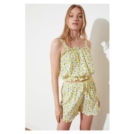 Trendyol Yellow Lemon Patterned Woven Pyjama Set