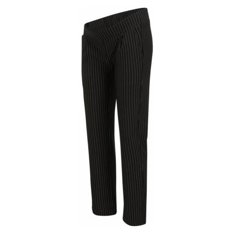 MAMALICIOUS Kalhoty se sklady v pase 'MINNA' černá / bílá