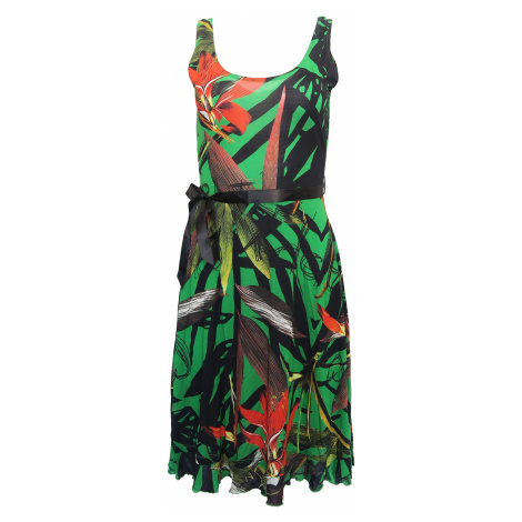 Desigual zelené šaty s černou stuhou