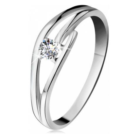 Prsten z bílého zlata 585 s třpytivým diamantem, rozdělená zvlněná ramena Šperky eshop
