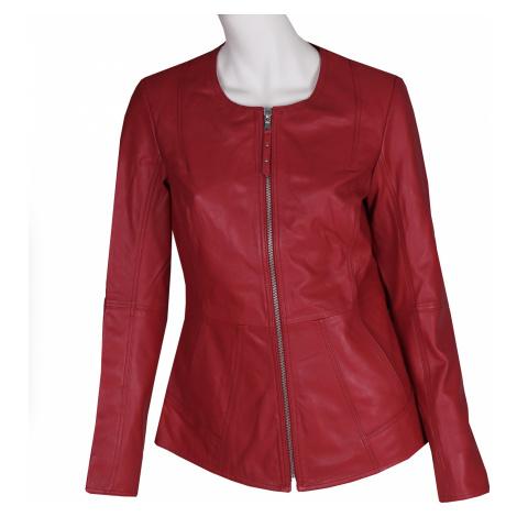 Červená kožená dámská bunda Baťa