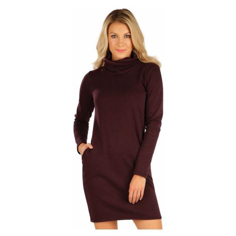 LITEX Mikinové šaty s dlouhým rukávem 7A065315 bordó